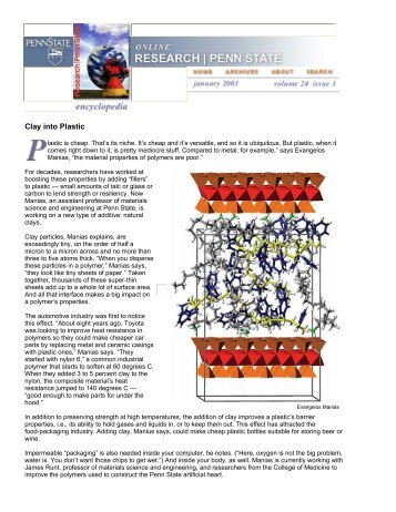 Clay into Plastic - Polymer Nanostructures and Nanocomposites ...