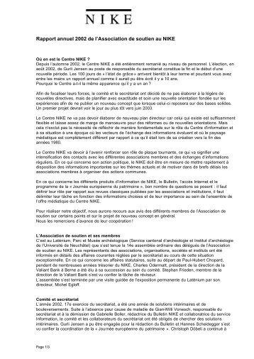 Rapport annuel 2002 de l'Association de soutien au NIKE