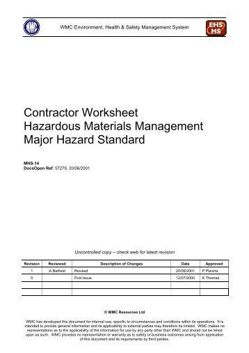 space park contractor hazardous material list