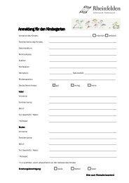 Anmeldung Kindergarten - Rheinfelden