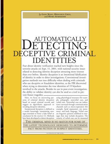 Detecting Deceptive Criminal Identities - Arizona Campus Repository