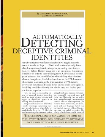 Detecting Deceptive Criminal Identities - Arizona Campus Repository