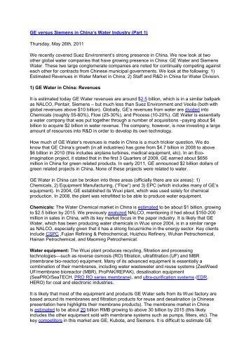 GE versus Siemens in China's Water Industry (Part 1 ... - NEEC
