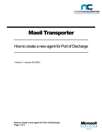 How to create a new agent for Port of Discharge