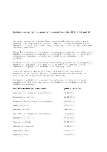 Publicaties week 25 - Gemeente Leeuwarden