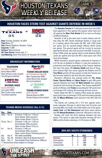 HOUSTON TEXANS WEEKLY RELEASE - NFL.com