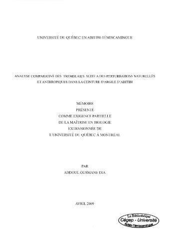 Analyse comparatives des tremblaies suite à des perturbations ...