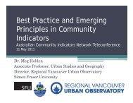 Best Practice and Emerging Principles in Community p y Indicators