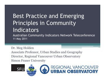 Best Practice and Emerging Principles in Community p y Indicators