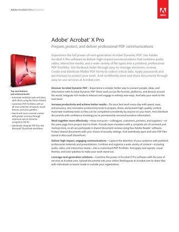 Adobe Acrobat X Pro Data Sheet - Micromail