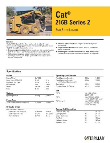AEHQ5895-02, Cat 216B Series 2 Skid Steer Loader Spec ... - Holt Cat