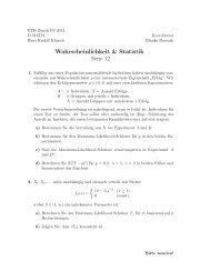 Wahrscheinlichkeit & Statistik Serie 12 - FIM - ETH Zürich