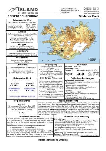 Ausführliche Reisebeschreibung - ISLAND Erlebnisreisen