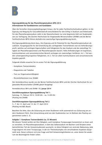 Information Eignungsabklärung Physiotherapie, Teil 1 - Gesundheit ...