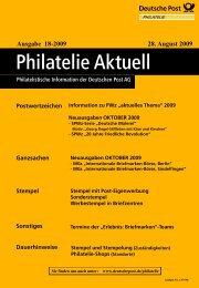 Ausgabe 18-2009 28. August 2009 - Deutsche Post - Philatelie