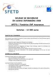 Bourse CNP – SFETD 2008. - CNRD