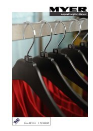Myer Apparel Suppliers Manual - Myer Supplier Information Website