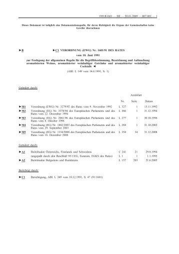 B C1 VERORDNUNG (EWG) Nr. 1601/91 DES RATES ... - EUR-Lex