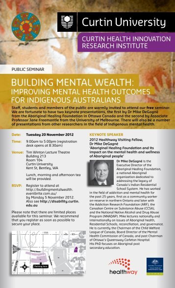 BUILdINg MENTAL WEALTH: - Health Sciences - Curtin University