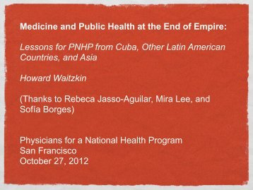 Lessons for PNHP from Cuba, Other Latin American Countries, and ...