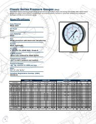 Classic Series Pressure Gauges Specifications