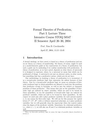 Formal Theories of Predication, Part I: Lecture Three ... - STOQ