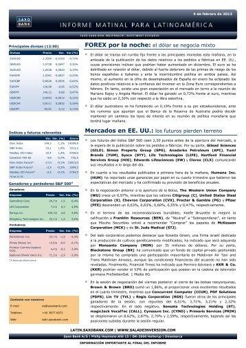 04/02/2013 Informe diario de mercados de Saxo Bank Los futuros ...