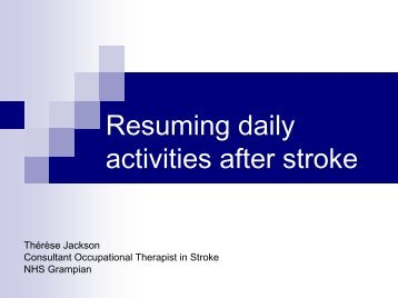 Leisure activity after stroke.