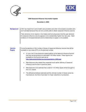 2009 Seasonal Influenza Vaccination Update November 2, 2009 ...