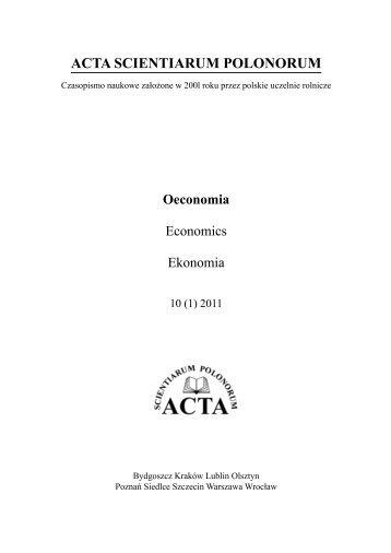ACTA SCIENTIARUM POLONORUM - SGGW