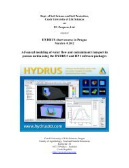 HYDRUS short course in Prague Advanced modeling of - PC-Progress