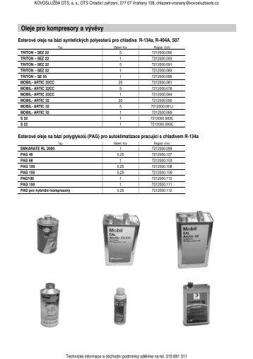 Oleje pro kompresory a vývěvy - KOVOSLUŽBA OTS, as