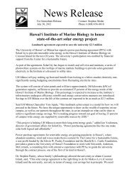 UH Manoa Press Release On Renewable Energy Project At Coconut