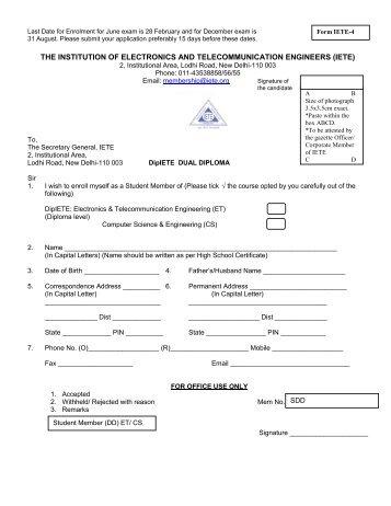 Dual Diploma Program for new enrolment - IETE