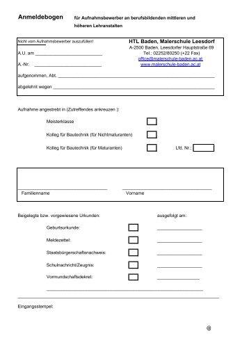 Anmeldebogen - HTL Baden, Malerschule Leesdorf