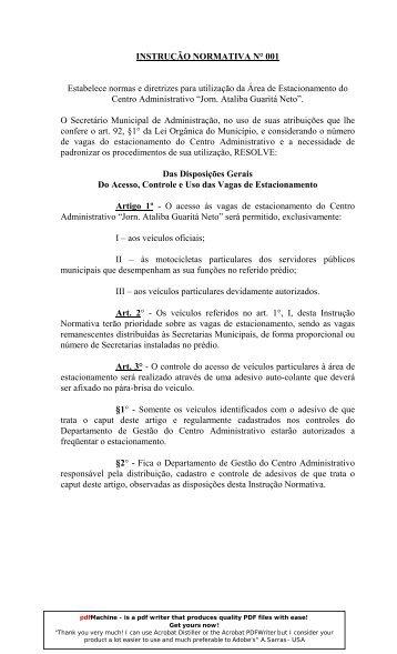 INSTRUÇÃO NORMATIVA N° 001 Estabelece normas e diretrizes ...