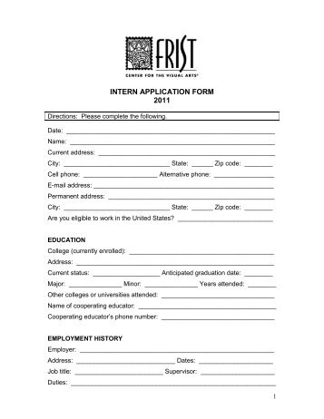 intern-application-form-2011-frist-center-for-the-visual-arts Of Visual Arts Application Form on during colonial period india, versus alternative, exhibition evaluation,