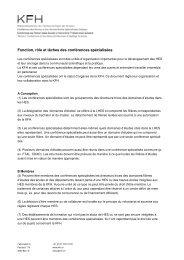 Fonction, rôle et tâches des conférences spécialisées - KFH