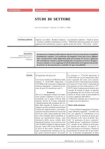 STUDI DI SETTORE - Ratio