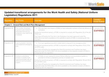 Northern Territory Transitional Arrangements (updated) - NT WorkSafe