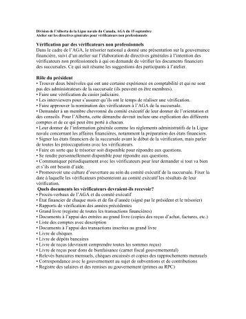 Directives pour les vérifications effectuées par des non-professionnels