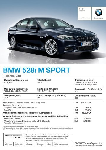 Download Specification Sheet Bmw Lee Motors Auto Care