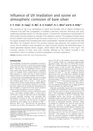 Influence of UV irradiation and ozone on atmospheric corrosion of ...