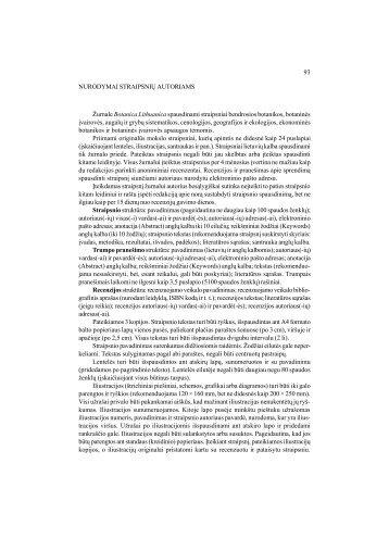 93 NURODYMAI STRAIPSNIŲ AUTORIAMS Žurnale Botanica ...