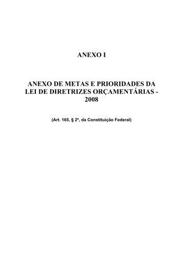 ANEXO I ANEXO DE METAS E PRIORIDADES DA LEI DE ...