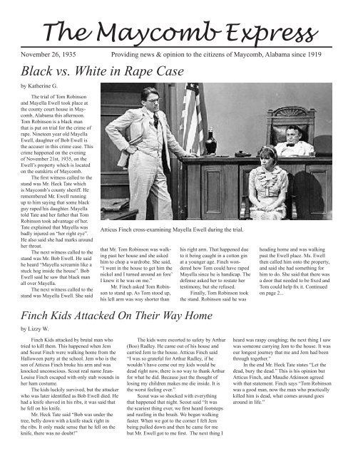 The Maycomb Express Black Vs White In Rape Case