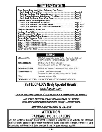 2011 Loop-Loc Retail Prices - Bel-Aqua Pool Supply, Inc.