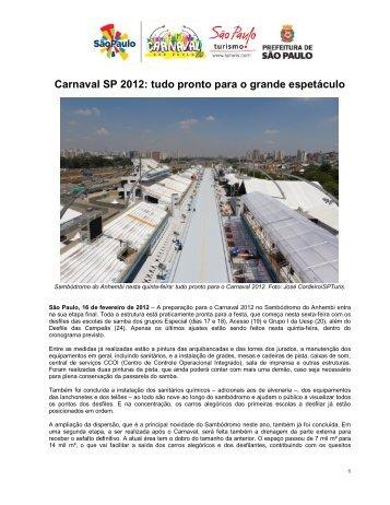 Carnaval SP 2012: tudo pronto para o grande espetáculo