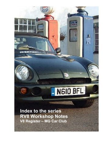 Index to the series RV8 Workshop Notes - V8 Register