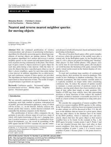 Nearest and reverse nearest neighbor queries for ... - CiteSeerX
